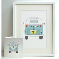 Unframed Personalised A4 Boy's Camper Van Print with coordinating card.