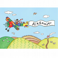 Personalised A4 Boy's Aeroplane Picture (Unframed).