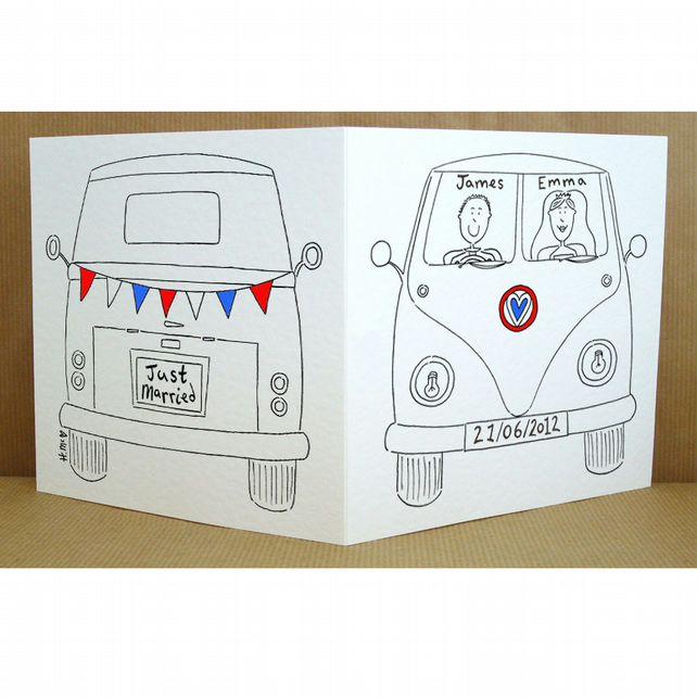 Personalised  Camper Van Wedding Card