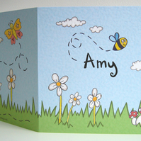 Personalised Bumble Bee, Ladybird and Butterfly Card