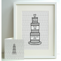 Unframed A4 Personalised Wedding Cake Print with card