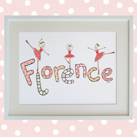 Unframed A3 Personalised Ballet Naming Print