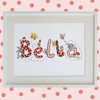 Unframed A3 Personalised Girl's Naming Print