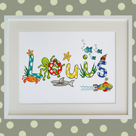 Unframed A3 Personalised Sea life Boy Naming Print