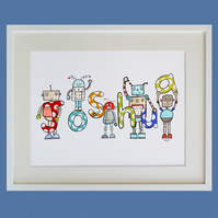Unframed A3 Personalised Robot Naming Print