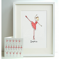Unframed Personalised A4 Ballet Dancer Print with card
