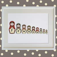 Unframed A3 Personalised Russian Doll Naming Print ( 9 Letters Maximum )