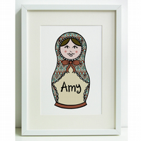 Unframed Personalised A4 Children's Picture. Russian Doll.