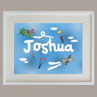 Unframed A3 Personalised Planes and Clouds Naming Print