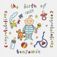 Unframed A3 Personalised 'Congratulations on the Birth of' Boy Naming Print
