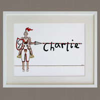 Unframed A3 Personalised Jousting Knight Naming Print