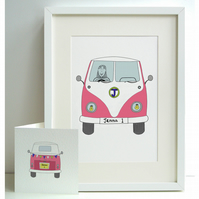 Unframed Personalised A4 Girl's Camper Van Print with coordinating card.