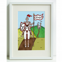 Unframed Personalised A4 Children's Picture. Knight.