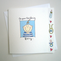 Boy's Christening Day or Naming Day Card ( Personalised )