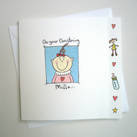 Girl's Christening Day or Naming Day Card ( Personalised )