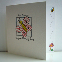Butterfly Naming Day, Birthday or any Occasion Card ( can be personalised )