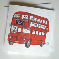 Personalised 'Party Bus' any occasion Greetings Card