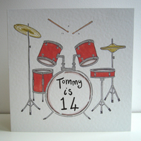 Drum Kit Birthday or any occasion card ( Personalised )