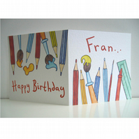 Birthday Card with pencils ( Personalised )
