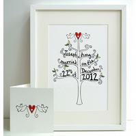 Unframed A4 Wedding Tree Print (personalised) with card.