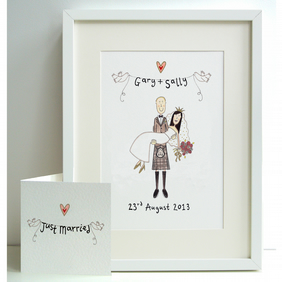 Unframed Personalised A4 Scottish Theme Wedding Bride and Groom Print with card.