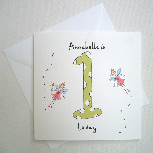 Fairy Girl's First Birthday Card ( Personalised )