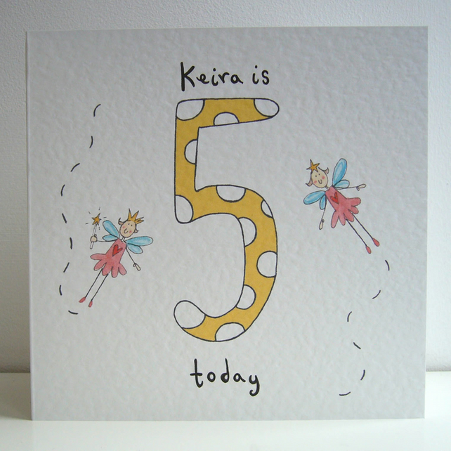 Fairy Girl's Fifth Birthday Card ( Personalised )