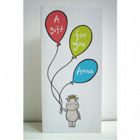 Personalised Gift Card to hold Money or cheques
