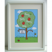 Unframed Personalised A4 Family Tree Print.