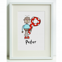 Personalised A4 Robot Print P, Q, R, S or T  (Unframed)