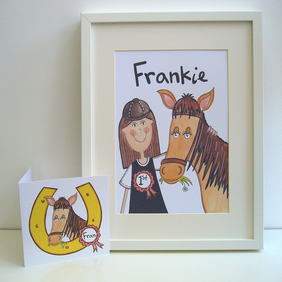 Unframed Personalised A4 Girl and her Horse Print with coordinating card.