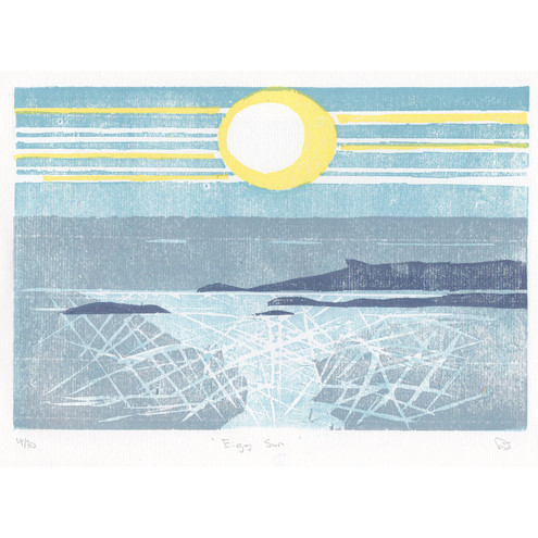 Eigg Sun, Hand printed, Limited Edition Woodcut