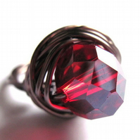 Wire Wrap Ring Ruby Red Glass Jewellery