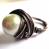 Cream Glass Pearl Wire Wrap Ring Brass Plated