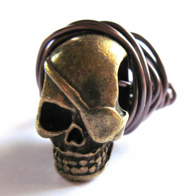 Brass Skull Ring Wire Wrapped Halloween Unisex Jewellery
