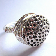 Silver Wire Wrap Ring Dimple Unisex Jewellery