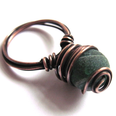 Matte Emerald Green Dragon Vein Agate Gemstone And Patinated Copper Wire Wrapped Ring