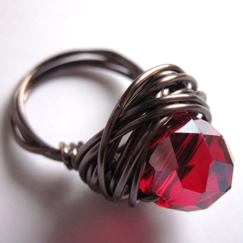Ruby Crystal Faceted Rondelle And Antiqued Brass Wire Wrapped Ring