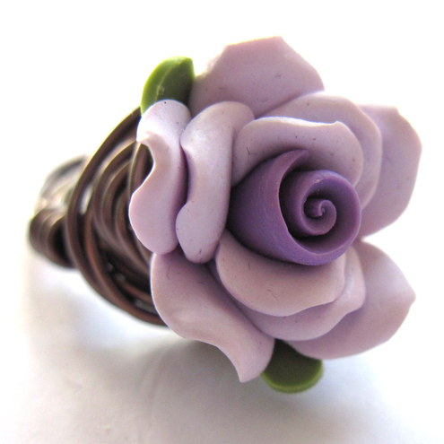 Lavender And Purple Polymer Clay Antiqued Brass Wire Wrapped Ring