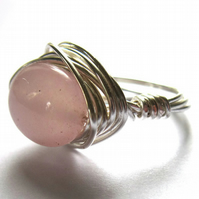 Sterling Silver Wire Wrapped Ring Rose Quartz Stone