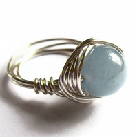 Wire Wrapped Ring Aquamarine Gemstone Unisex Jewellery