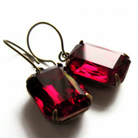 Vintage Style Earrings Ruby Red Glass Jewellery
