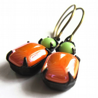 Vintage Style Earrings Tangerine Lime Glass