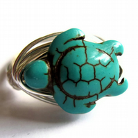 Turquoise Blue Stone Tortoise Turtle Wire Wrapped Ring