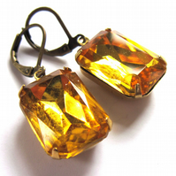 Topaz Glass Vintage Style Earrings Jewellery