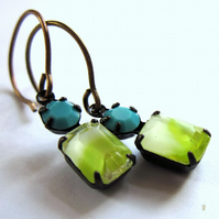 Vintage Style Glass Earrings Lime Green Turquoise Claw Set Jewellery