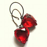 Red Glass Heart Claw Set Earrings Jewellery