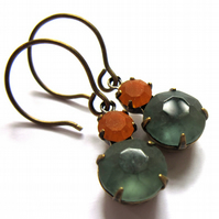 Vintage Style Earrings Dusky Blue Orange Glass Fashion Jewellery