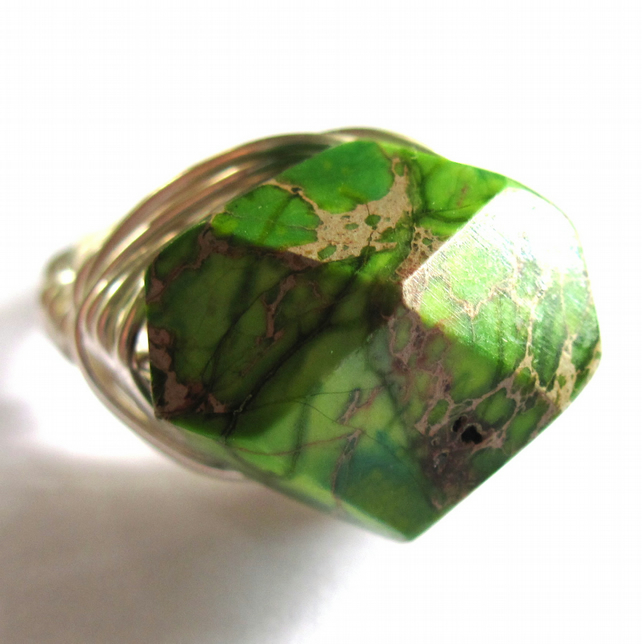 green jasper gemstone wire wrapped ring any size folksy