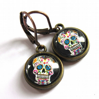 Sugar Skull Halloween Glass Earrings Vintage Style Fashion Jewellery